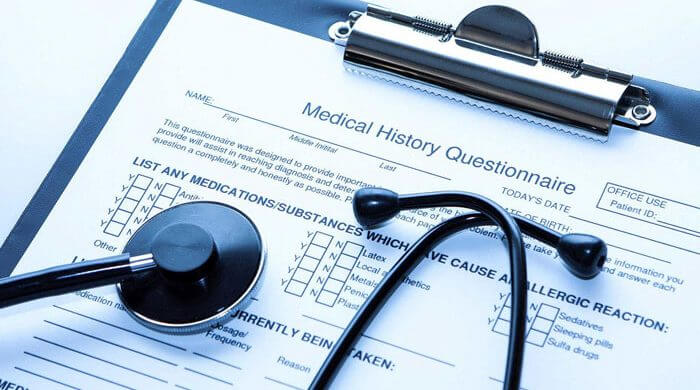 A Medical History Questionaire for Medical patient, senthocope on the form for medical billing