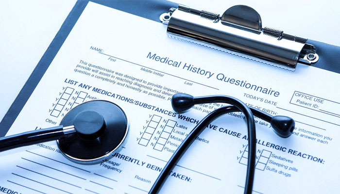 A medical Billing questionare on writing board