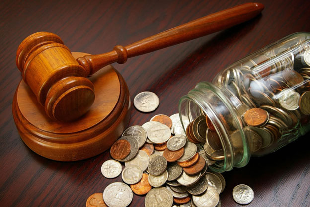 A court judge hammer litigation-arbitration and dropped jar full of coins