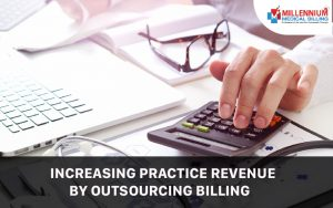 A medical billing employee is proceeding a medical bill for client and calculating the bill at Millennium Medical Billing