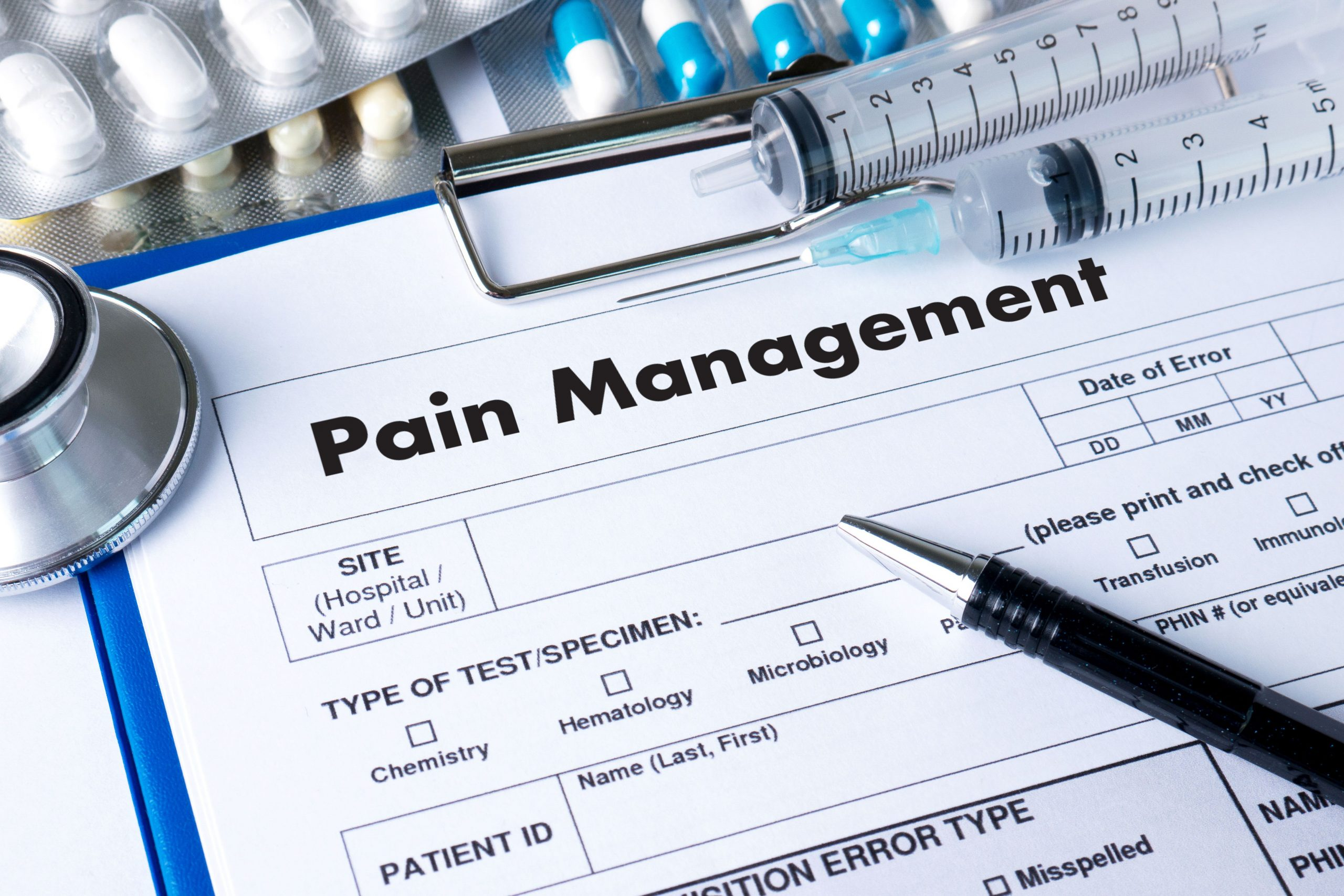 A pain management examination form to analyze pain suffering patient
