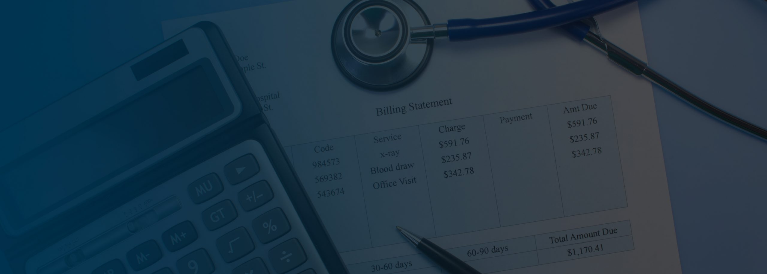 A calculator, stethoscope and a pen is placed on a billing statement paper